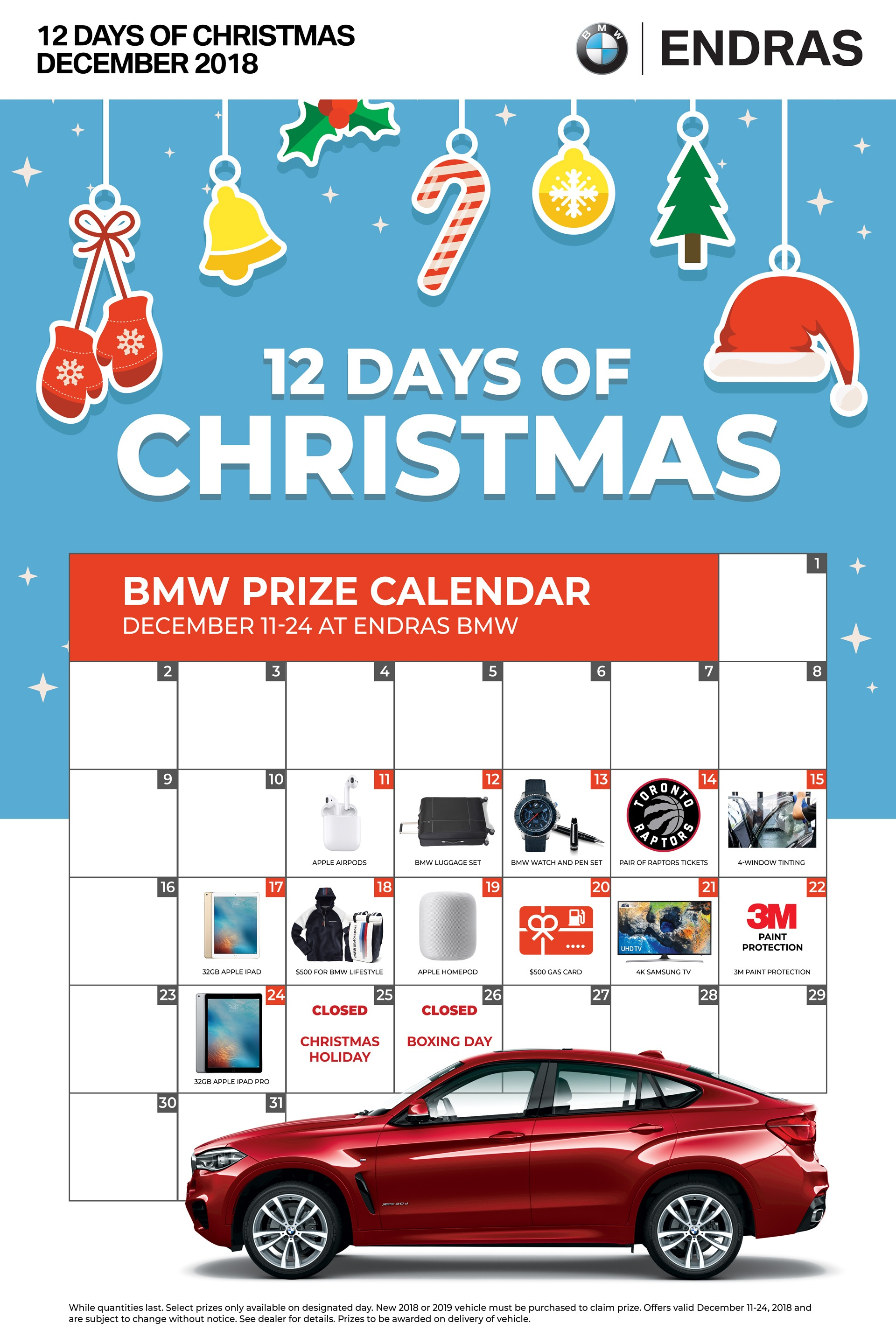 Endras BMW Christmas 12 Days of Christmas Giveaways